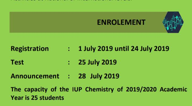 Pendaftaran International Undergraduate Program (IUP) S-1 Kimia Tahun Ajaran 2019/2020