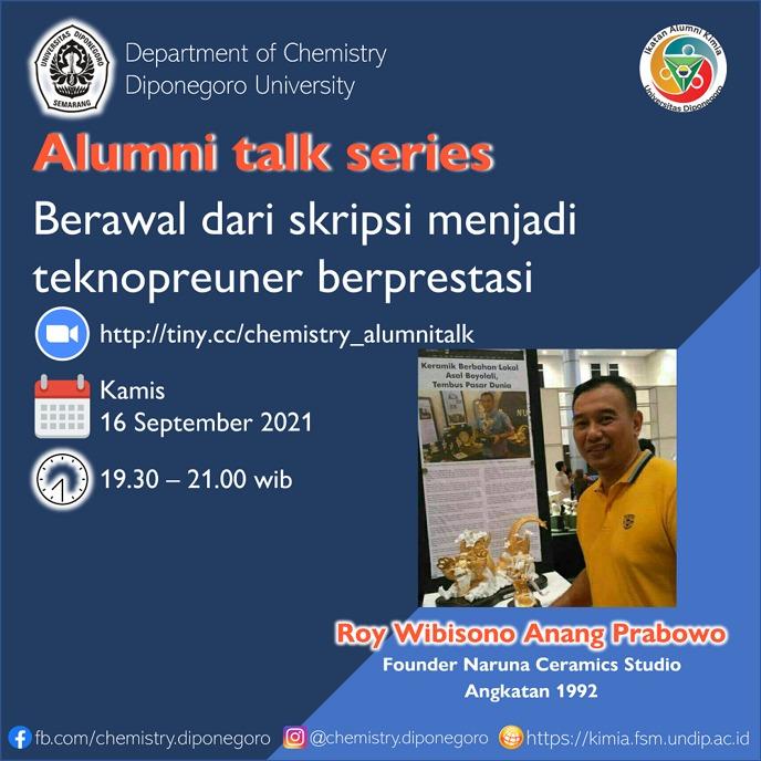 """Alumni Talk Series #1 """"Berawal dari Skripsi Menjadi Teknopreneur Berprestasi"""""""